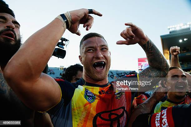 Tariq Sims of the Cowboys celebrates after winning the grand final match between the Brisbane Broncos and the north Queensland Cowboys in the...