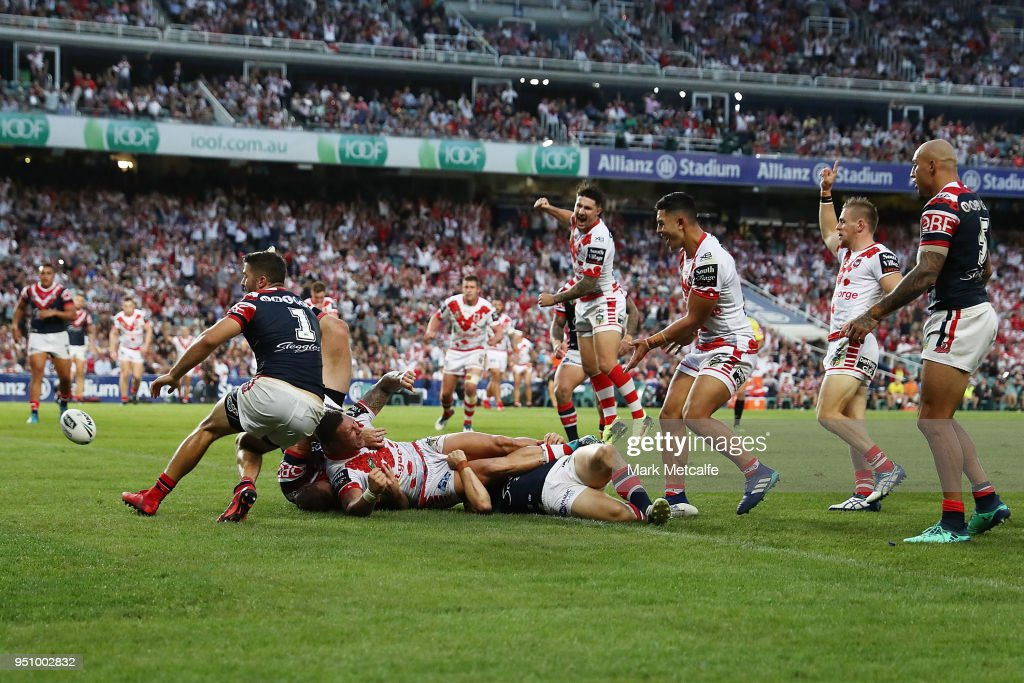 Tariq Sims of the Dragons celebrates scoring a try during the round eight NRL match between the St George Illawara Dragons and Sydney Roosters at Allianz Stadium on April 25, 2018 in Sydney, Australia.