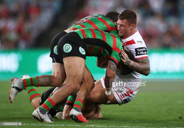 Tariq Sims of the Dragons is tackled during the NRL Semi Final match between the South Sydney Rabbitohs and the St George Illawarra Dragons at ANZ...