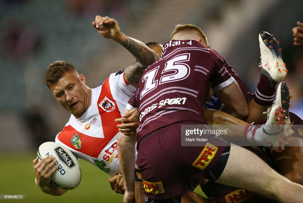 Tariq Sims of the Dragons is tackled during the round 15 NRL match between the St George Illawarra Dragons and the Manly Sea Eagles at WIN Stadium on June 16, 2018 in Wollongong, Australia.