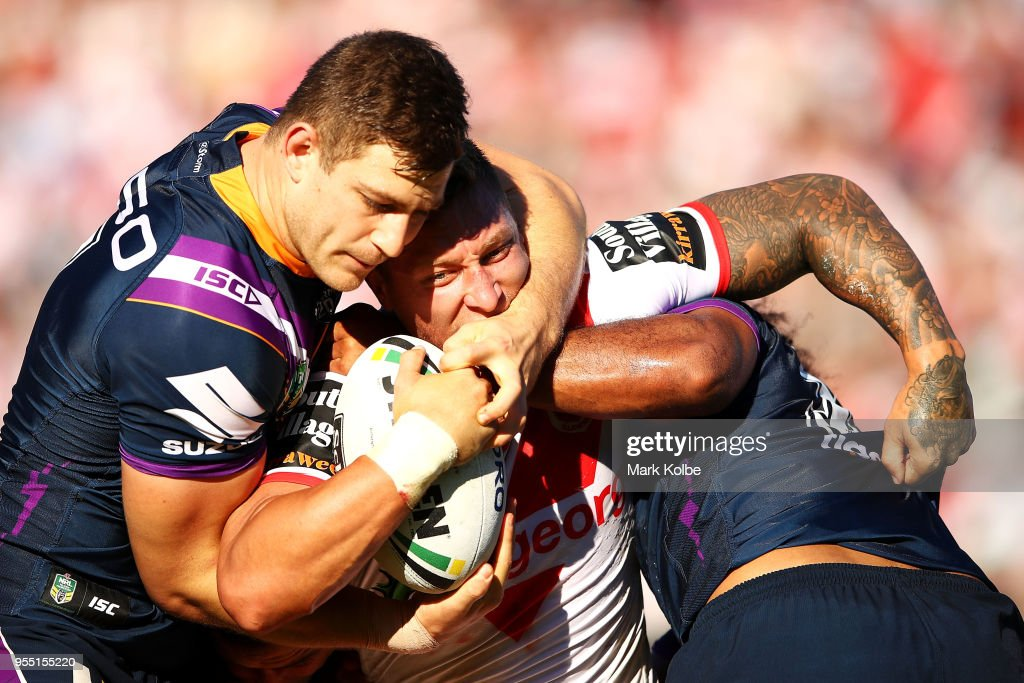 Tariq Sims of the Dragons is tackled during the round nine NRL match between the St George Illawarra Dragons and the Melbourne Storm at UOW Jubilee Oval on May 6, 2018 in Sydney, Australia.