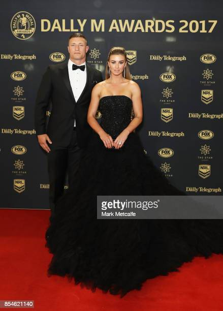 Tariq Sims of the Dragons with wife Ashleigh Sims arrive ahead of the 2017 Dally M Awards at The Star on September 27 2017 in Sydney Australia