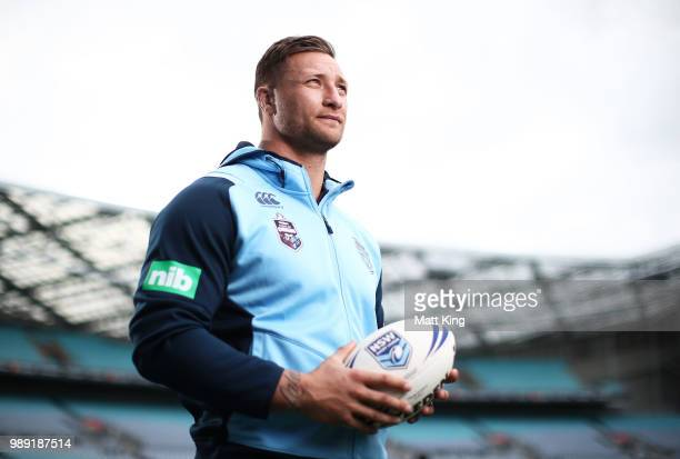 Tariq Sims poses during the New South Wales Blues State of Origin Team Announcement at ANZ Stadium on July 2, 2018 in Sydney, Australia.