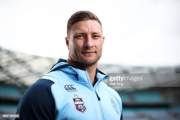 Tariq Sims poses during the New South Wales Blues State of Origin Team Announcement at ANZ Stadium on July 2 2018 in Sydney Australia