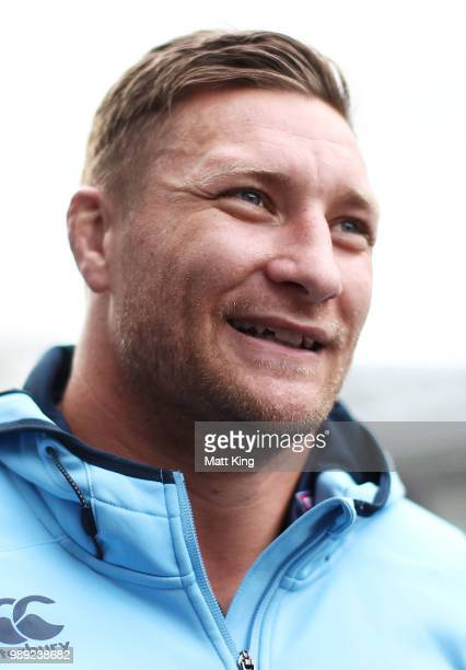 Tariq Sims speaks to the media during the New South Wales Blues State of Origin Team Announcement at ANZ Stadium on July 2 2018 in Sydney Australia
