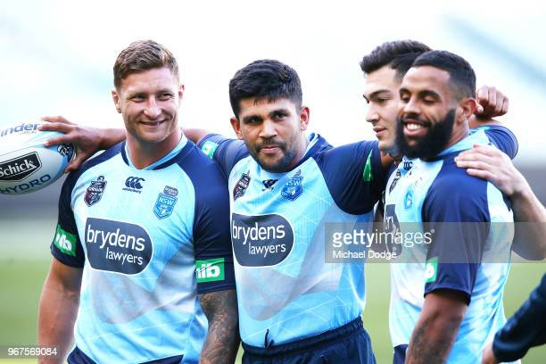 Tariq Sims Tyrone Peachy Nick Cotric and Josh AddoCarr of the Blues look upfield during a New South Wales Blues State of Origin Captain's Run at the...