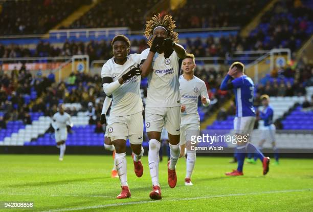 Tariq Uwakwe of Chelsea celebrates the first goal during the FA youth Cup Semi final 1st leg between Birmingham and Chelsea at St Andrews on April 4,...