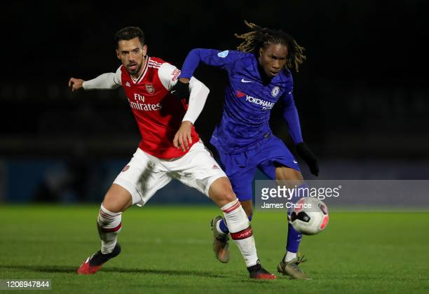 Tariq Uwakwe of Chelsea FC is challenged by Pablo Mari of Arsenal FC during the Premier League 2 match between Arsenal FC U23s and Chelsea FC U23s at...