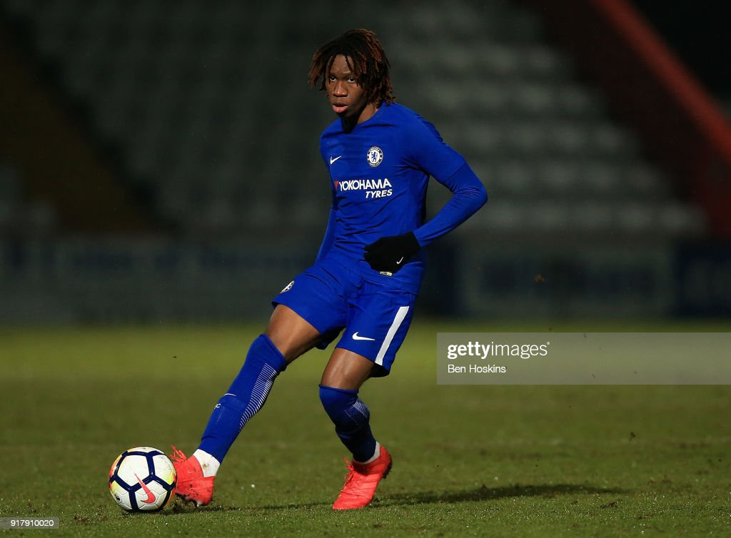Tariq Uwakwe of Chelsea in action during the FA Youth Cup match between Tottenham Hotspur and Chelsea at The Lamex Stadium on February 13, 2018 in Stevenage, England.