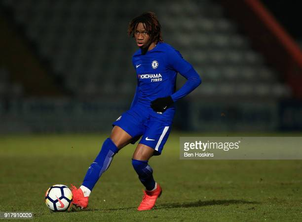Tariq Uwakwe of Chelsea in action during the FA Youth Cup match between Tottenham Hotspur and Chelsea at The Lamex Stadium on February 13 2018 in...
