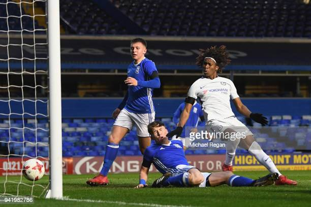 Tariq Uwakwe of Chelsea scores to make it 10 during the FA Youth Cup SemiFinal First Leg between Birmingham City v Chelsea at St Andrews on April 4...