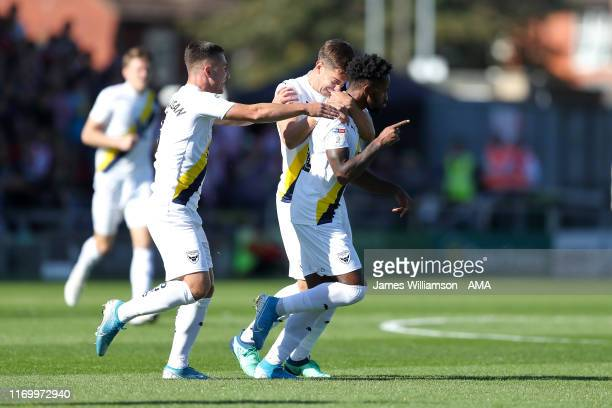 Tariqe Fosu of Oxford United celebrates after scoring a goal to make it 01 during the Sky Bet Leauge One match between Lincoln City and Oxford United...