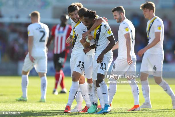 Tariqe Fosu of Oxford United celebrates after scoring a goal to make it 05 completing his hattrick during the Sky Bet Leauge One match between...