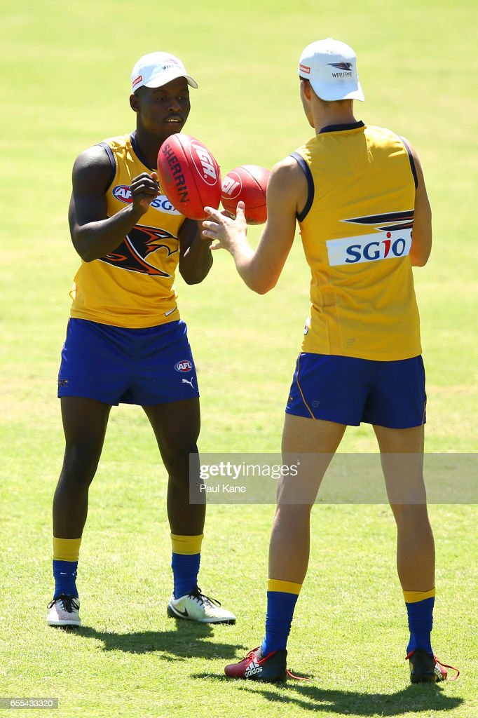 Tarir Bayok of the Eagles works on a handball drill during a West Coast Eagles AFL training session at Domain Stadium on March 20, 2017 in Perth, Australia.