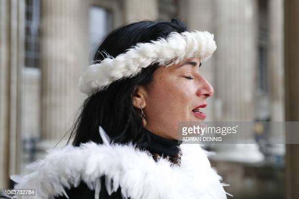 Tarita Alarcon Rapu Governor of Easter Island gives a press conference outside the British Museum in London after requesting the return of Hoa...