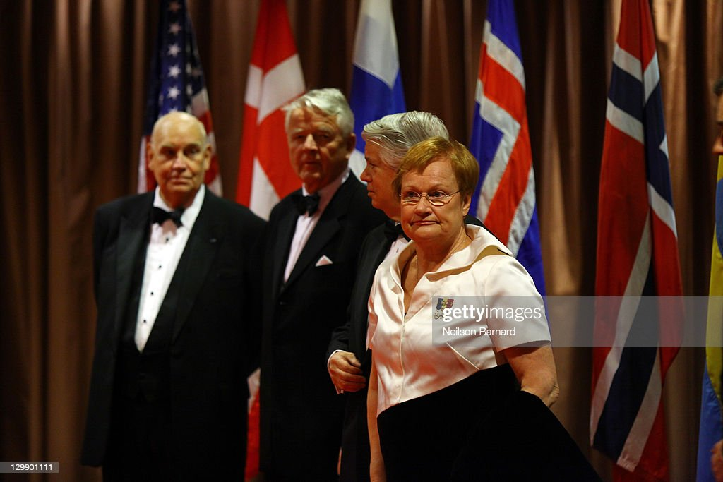 Tarja Halonen (R), President of Finland attends the American Scandinavian Foundation's Centennial Ball at The Hilton Hotel on October 21, 2011 in New York City.