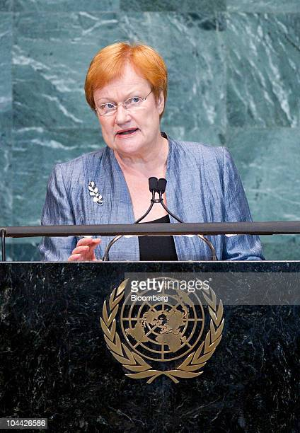 Tarja Halonen president of Finland speaks during the 65th annual United Nations General Assembly at the UN in New York US on Friday Sept 24 2010 The...