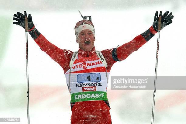 Tarjei Boe of Norway celebrates winning the men 4 x 7,5 km relay event in the IBU Biathlon World Cup on December 12, 2010 in Hochfilzen, Austria.