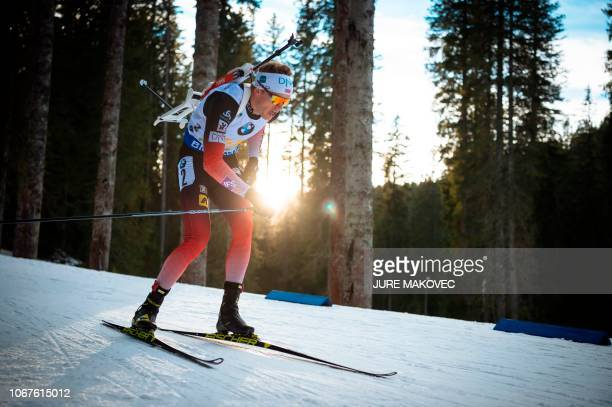 Tarjei Boe of Norway competes during the Mixed Relay competition of the IBU Biathlon World Cup in Pokljuka on December 2 2018