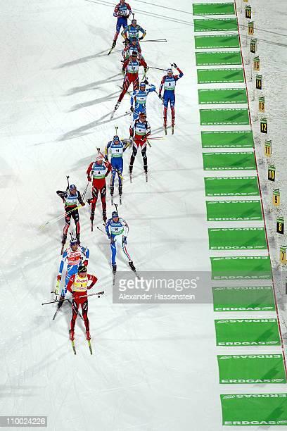 Tarjei Boe of Norway competes in men's mass start during the IBU Biathlon World Championships at AV Philipenko winter sports centre on March 12 2011...