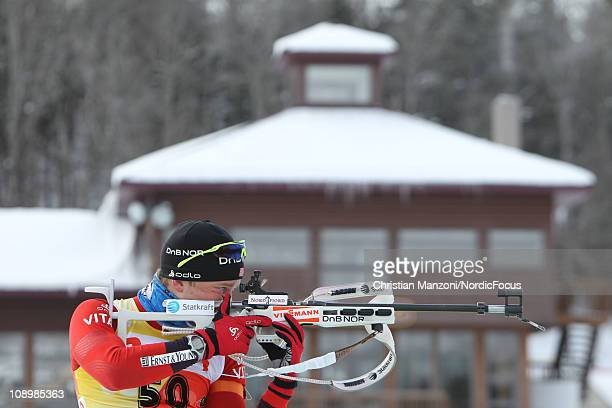 Tarjei Boe of Norway competes in the men's sprint during the E.ON IBU Biathlon World Cup on February 10, 2011 in Fort Kent, United States.