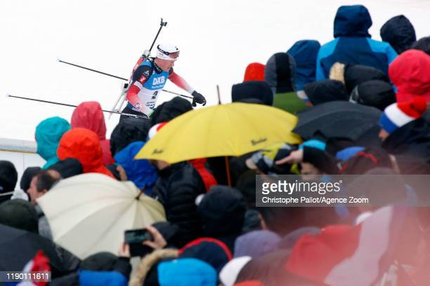 Tarjei Boe of Norway crowds during the IBU Biathlon World Cup Men's 15 km Mass Start Competition on December 22, 2019 in Le Grand-Bornand, France.