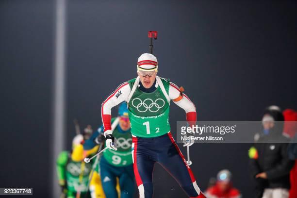 Tarjei Boe of Norway during the Mens Biathlon 4x7,5km Relay at Alpensia Biathlon Centre on February 23, 2018 in Pyeongchang-gun, South Korea.