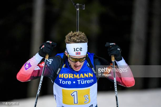 Tarjei Boe of Norway in action competes during the Mens 4x7.5 km Relay Competition at the BMW IBU World Cup Biathlon Oestersund at on December 7,...