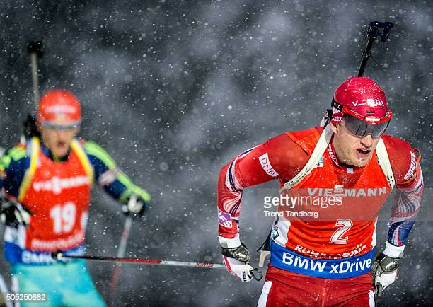 Tarjei Boe of Norway in action during the Men's 15 km mass start Biathlon race at the IBU Biathlon World Cup Ruhpolding on January 16 2016 in...