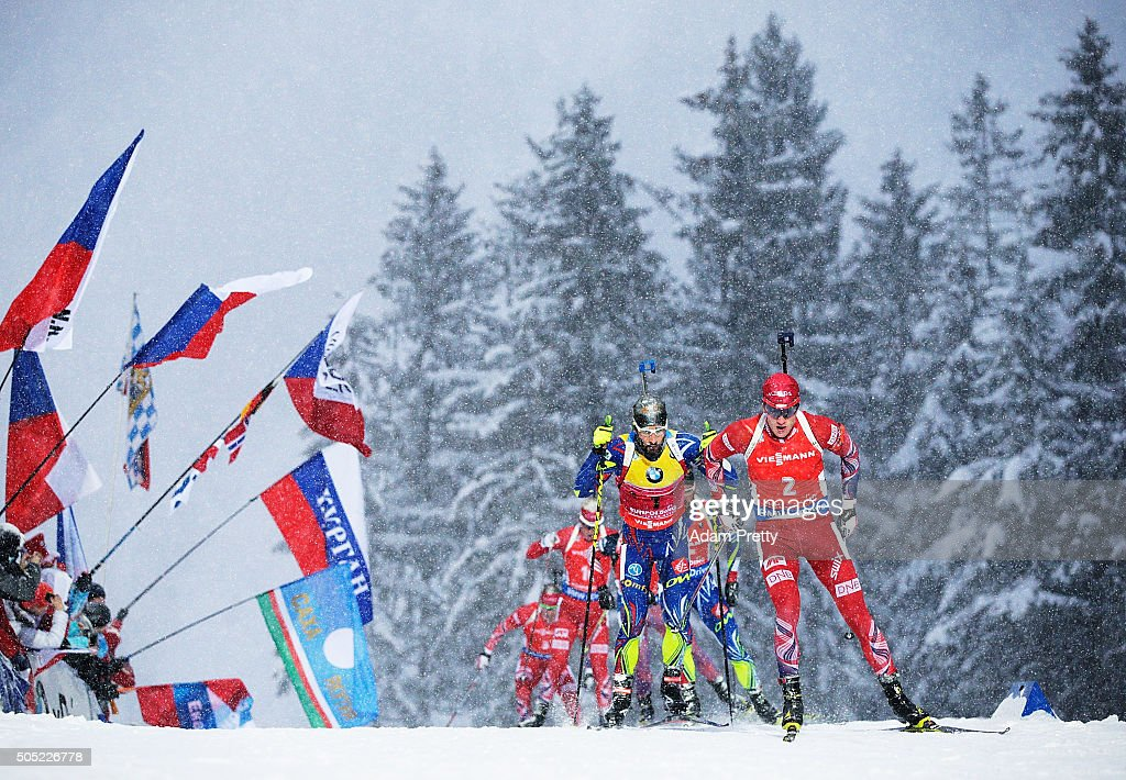 Tarjei Boe of Norway leads the pack on the first lap during the Men's 15km Biathlon race of the Ruhpolding IBU Biathlon World Cup on January 16, 2016 in Ruhpolding, Germany.