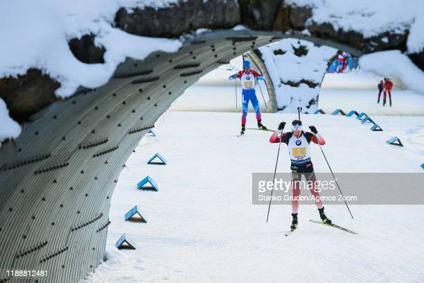 Tarjei Boe of Norway takes 1st place during the IBU Biathlon World Cup Men's Relay on December 15, 2019 in Hochfilzen, Austria.