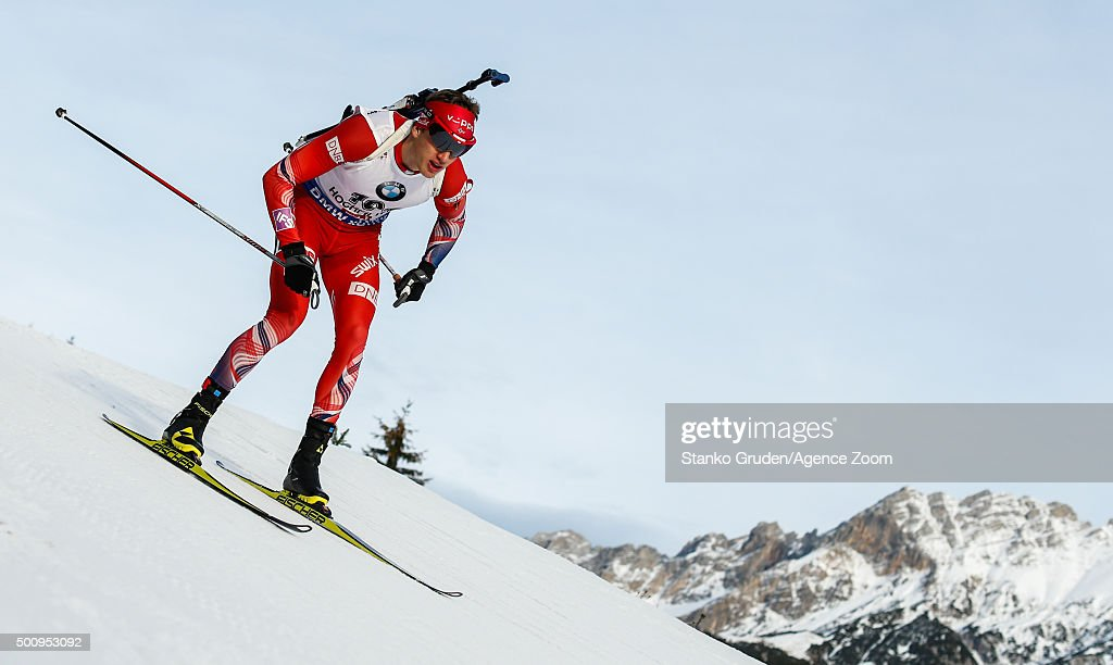 Tarjei Boe of Norway takes 1st place during the IBU Biathlon World Cup Men's and Women's Sprint on December 11, 2015 in Hochfilzen, Austria.