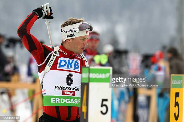 Tarjei Boe of Norway takes 2nd place during the IBU Biathlon World Cup MenÕs Pursuit on December 10 2011 in Hochfilzen Austria