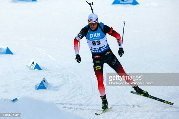 Tarjei Boe of Norway wins the bronze medal during the IBU Biathlon World Championships Men's 20km on March 13, 2019 in Oestersund, Sweden.