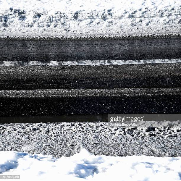 Tarmac road covered in layers of ice and snow