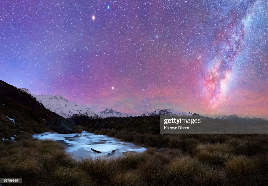 Tarns frozen with ice and milkyway sky above : Stock Photo