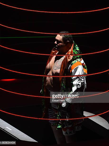 Taro Akebono of Japan enters the ring prior to the bout Rizin Fighting World Grand Prix against Bob Sapp of the United States during the Rizin Iza...