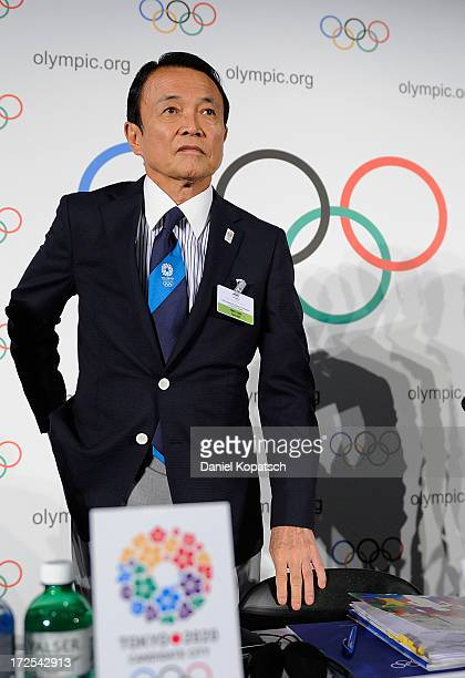 Taro Aso Finance and Deputy Prime Minister arrives for a press conference during the IOC 2020 Candidate Cities Briefing on July 3 2013 in Lausanne...