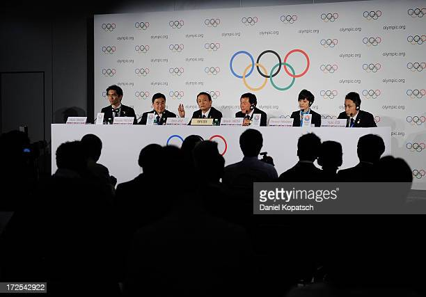 Taro Aso Finance and Deputy Prime Minister speaks next to Masato Mizuno CEO of Tokyo 2020 and Naoki Inose Governor of Tokyo at a press conference...