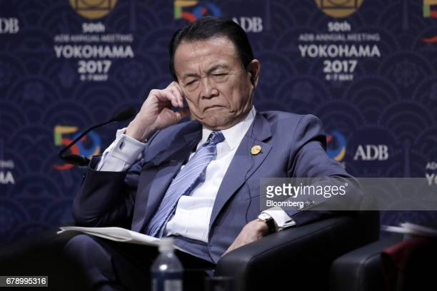 Taro Aso Japan's deputy prime minister and finance minister attends the 50th Asian Development Bank Annual Meeting in Yokohama Japan on Friday May 5...