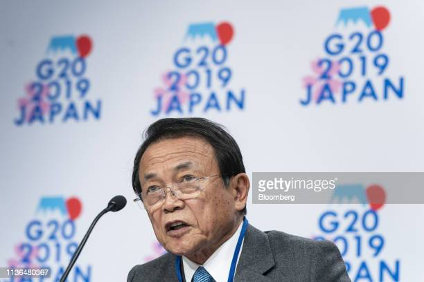 Taro Aso Japan's deputy prime minister and finance minister speaks during a Group of 20 finance ministers and central bank governors news conference...