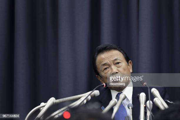 Taro Aso Japan's deputy prime minister and finance minister speaks during a news conference in Tokyo Japan on Monday June 4 2018 Asowill take a...