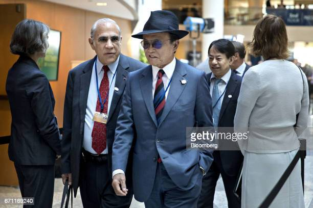 Taro Aso Japan's finance minister center arrives to a Group of 20 finance ministers and central bank governors meeting on the sidelines of the spring...