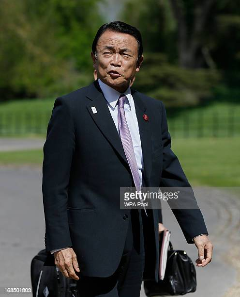 Taro Aso, Minister of Finance of Japan arrives at the start of the G7 finance ministers and central bank governors meeting on Friday May 10, 2013 in...