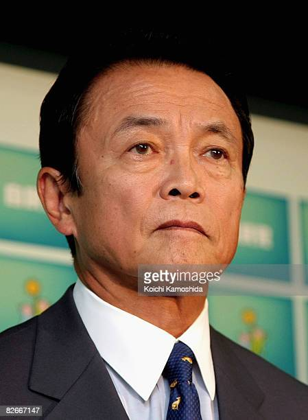 Taro Aso secretarygeneral of Japan's ruling Liberal Democratic Party speaks during a news conference at the Liberal Democratic Party Headquarter on...