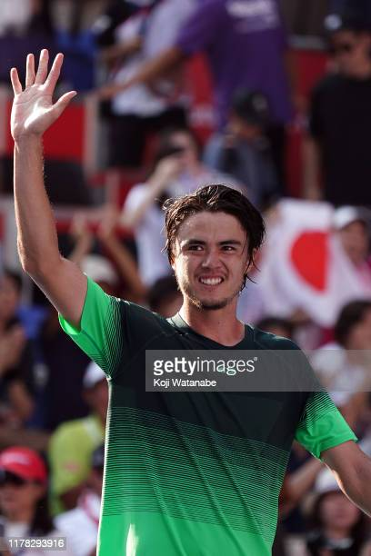 Taro Daniel of Japan celebrates after defeating Borna Coric of Croatia on day two of the Rakuten Open at the Ariake Coliseum on October 01 2019 in...
