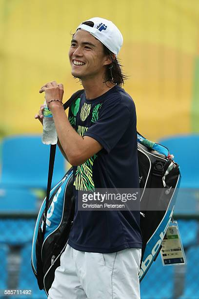 Taro Daniel of Japan leaves from a practice session ahead of the 2016 Summer Olympic Games at the Olympic Tennis Centre on August 3 2016 in Rio de...