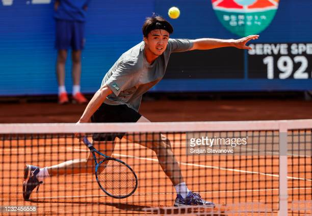 Taro Daniel of Japan plays a backhand during the Second Round match against Taro Daniel of Japan at Novak Tennis Centre on April 22, 2021 in...