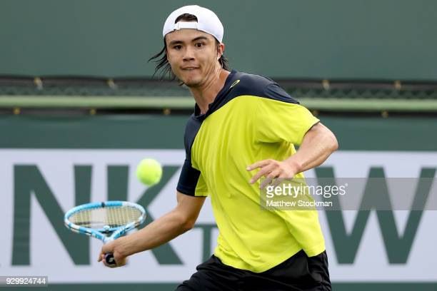 Taro Daniel of Japan plays Cameron Noorie of Great Britain during the BNP Paribas Open at the Indian Wells Tennis Garden on March 9 2018 in Indian...