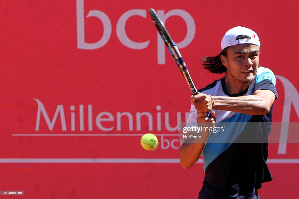Millennium Estoril Open ATP 250 tennis tournament - Taro Daniel (JAP) vs Steven Diez (CAN) : News Photo